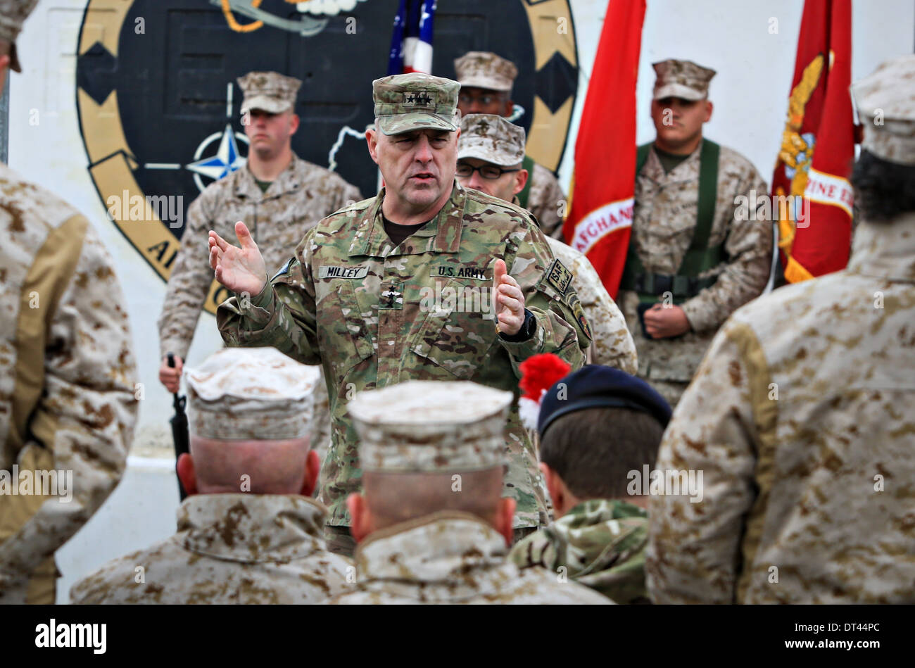 US Army Lieutenant Gen. Mark A. Milley, commanding general, International Security Assistance Force Joint Command, speaks during a transfer of authority ceremony at Camp Leatherneck February 5, 2014 in Washer, Helmand Provence, Afghanistan. - Stock Image