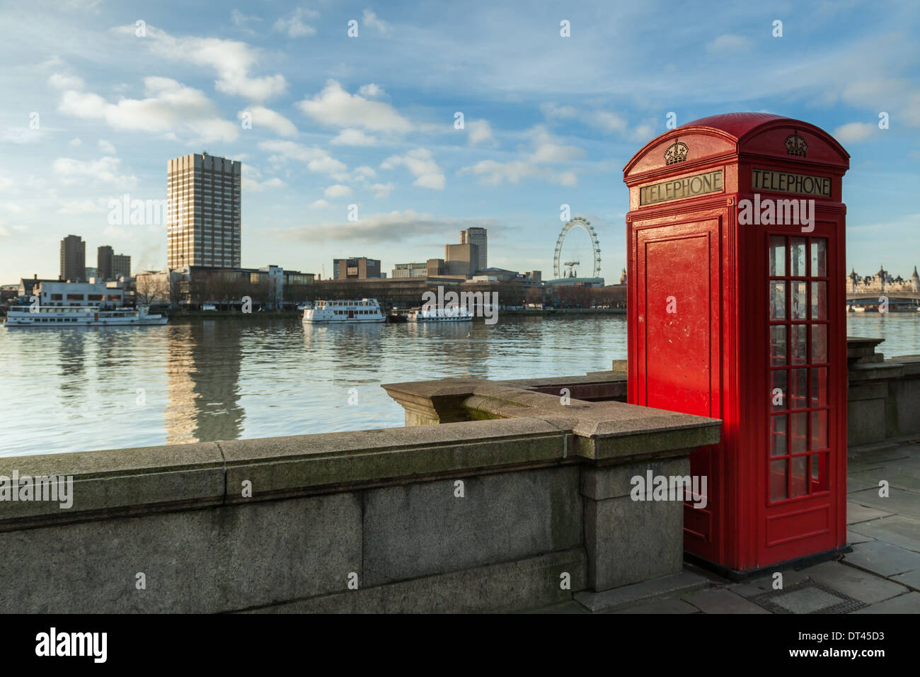 Red telephone box in London, England. - Stock Image