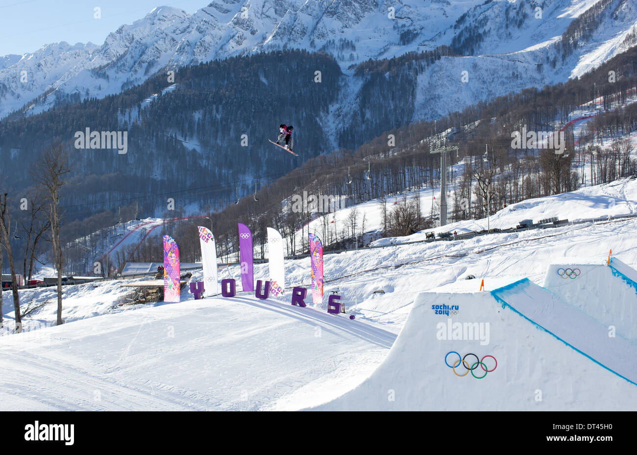 Sochi, Russia. 08th Feb, 2014. Men's Snowboard Slopestyle Semi-Finals in Rosa Khutor Extreme Park. Janne Korpi's Second run. The Finnish rider earned only 10th place in his heat, knocking him out of the final. Credit:  Action Plus Sports/Alamy Live News - Stock Image