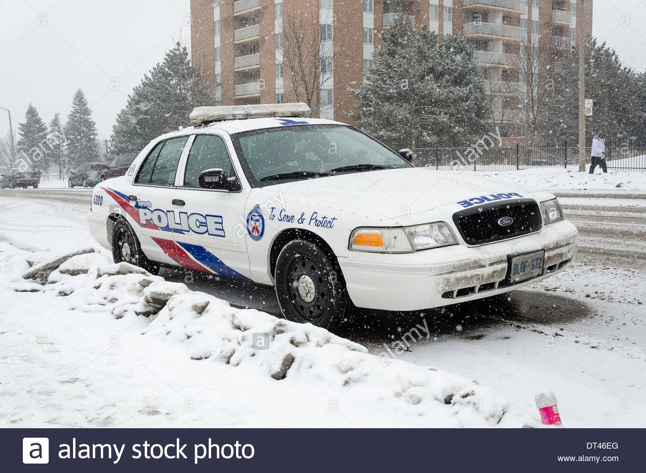 Toronto police car parked in the street during the harsh Canadian winter Stock Photo