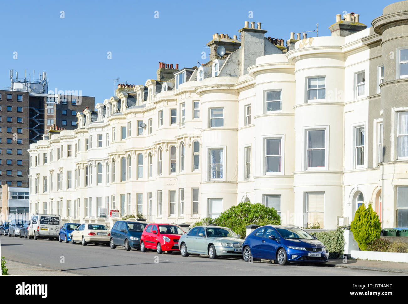 Victorian terraced housing on the coast of southern England. - Stock Image