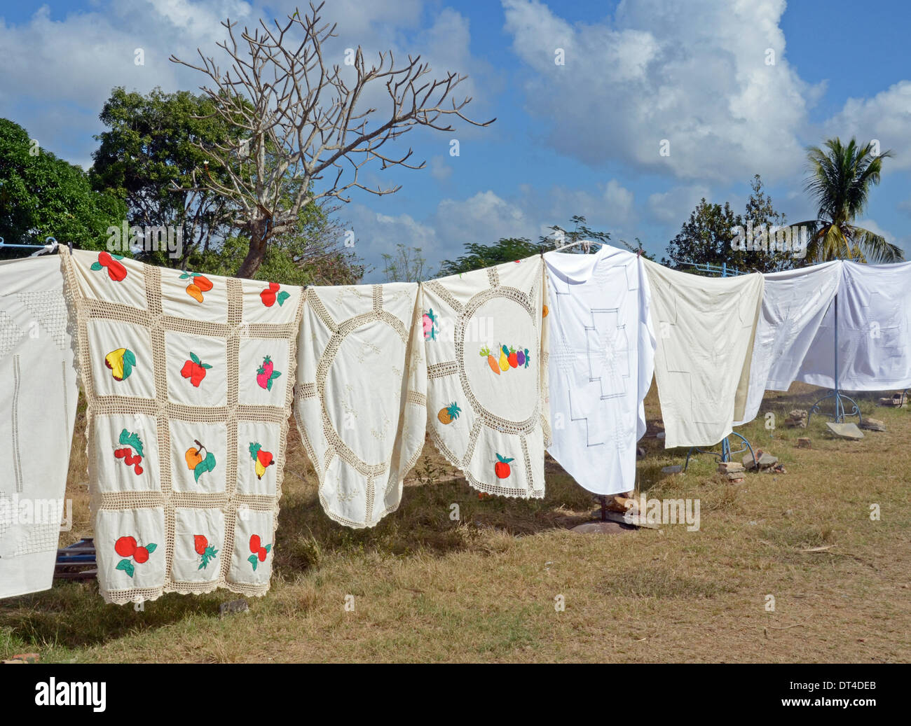 Hand-made tablecloths for sale, Cuba - Stock Image