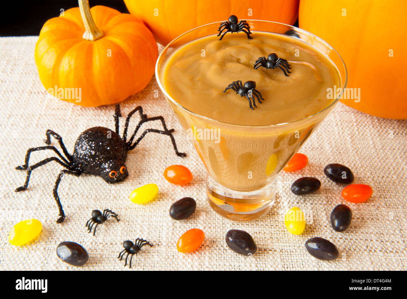 Halloween spiders enjoying a martini glass of butterscotch pudding - Stock Image