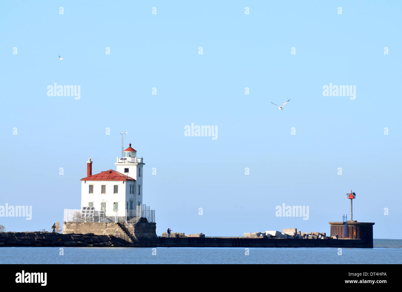 Fairport Harbor Lighthouse on Lake Erie - Stock Image