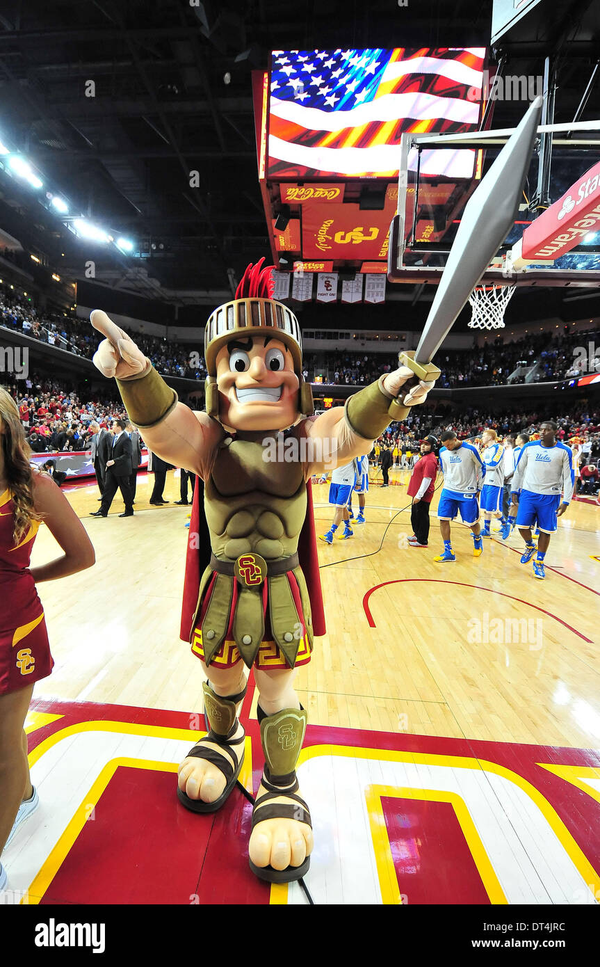 Los Angeles, CA, USA. 8th Feb, 2014. USC Trojans Mascot Tommy Trojan during the College Basketball game between the UCLA Bruins and the USC Trojans at the Galen Center in Los Angeles, California.Louis Lopez/CSM/Alamy Live News Stock Photo