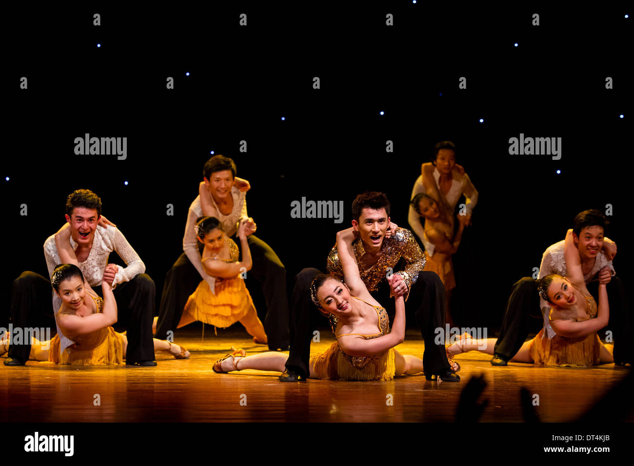 Havana. 8th Feb, 2014. Members of the China Disabled People's Performing Art Troupe perform at Havana's National Theater in Cuba, Feb. 8, 2014. © Liu Bin/Xinhua/Alamy Live News - Stock Image