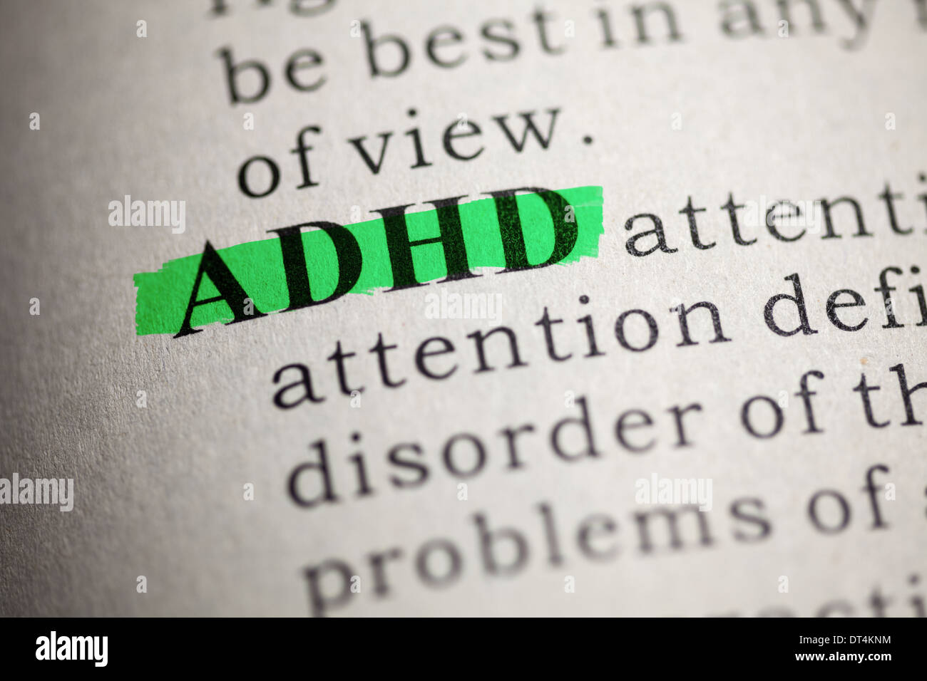 Fake Dictionary, Dictionary definition of the word ADHD. Attention deficit hyperactivity disorder - Stock Image