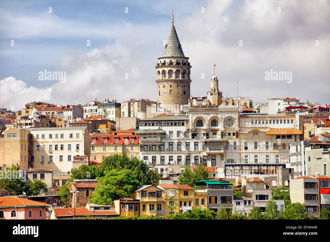 Istanbul cityscape in Turkey with Galata Tower, 14th-century city landmark in the middle. - Stock Image