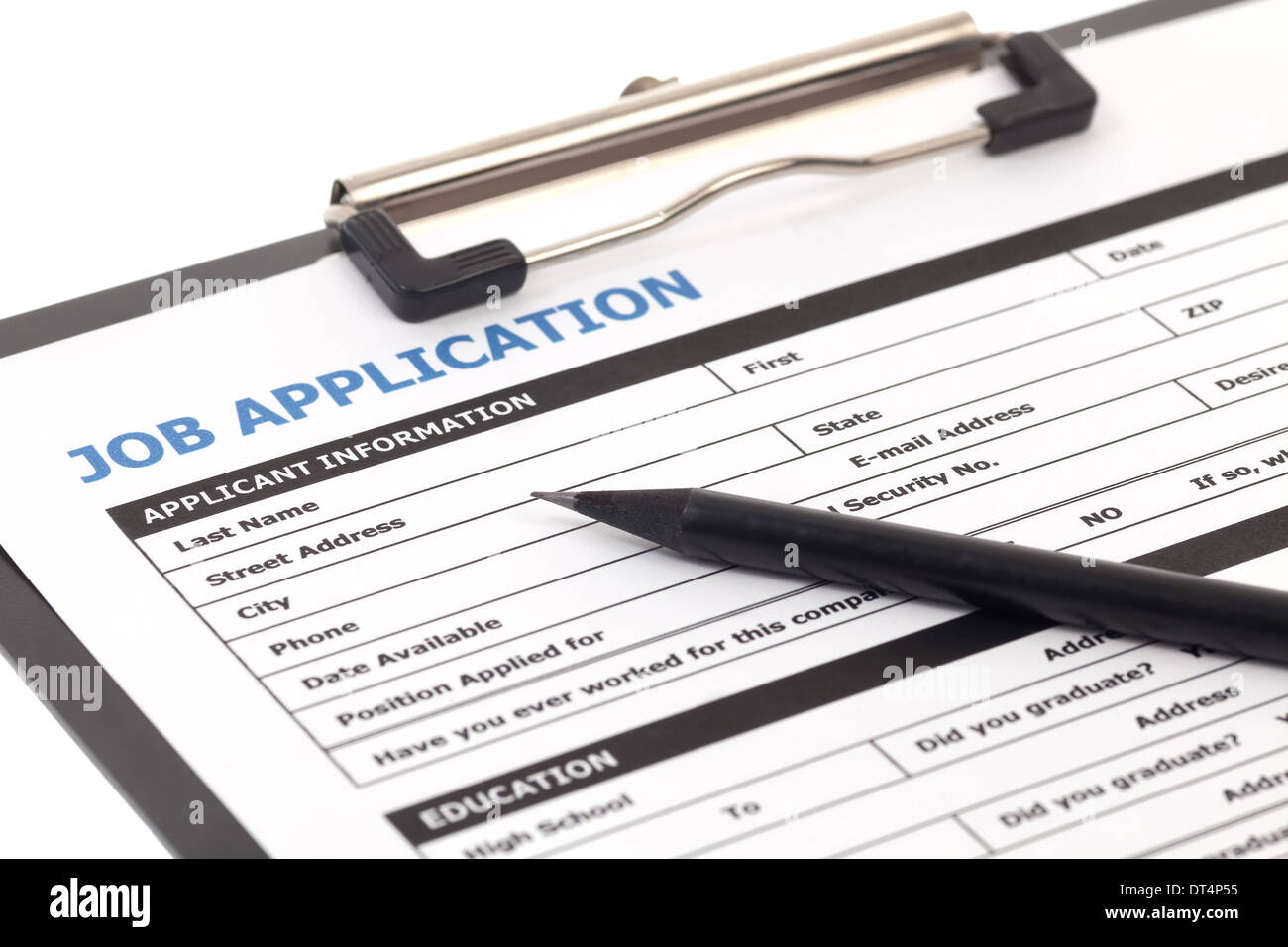 job application form isolated on white background stock photo