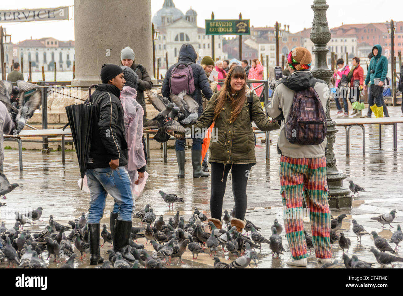 Venice, St Mark´s Square, Italy. Young woman gets photographed with a smartphone while pigeons sitting on her arms. Stock Photo