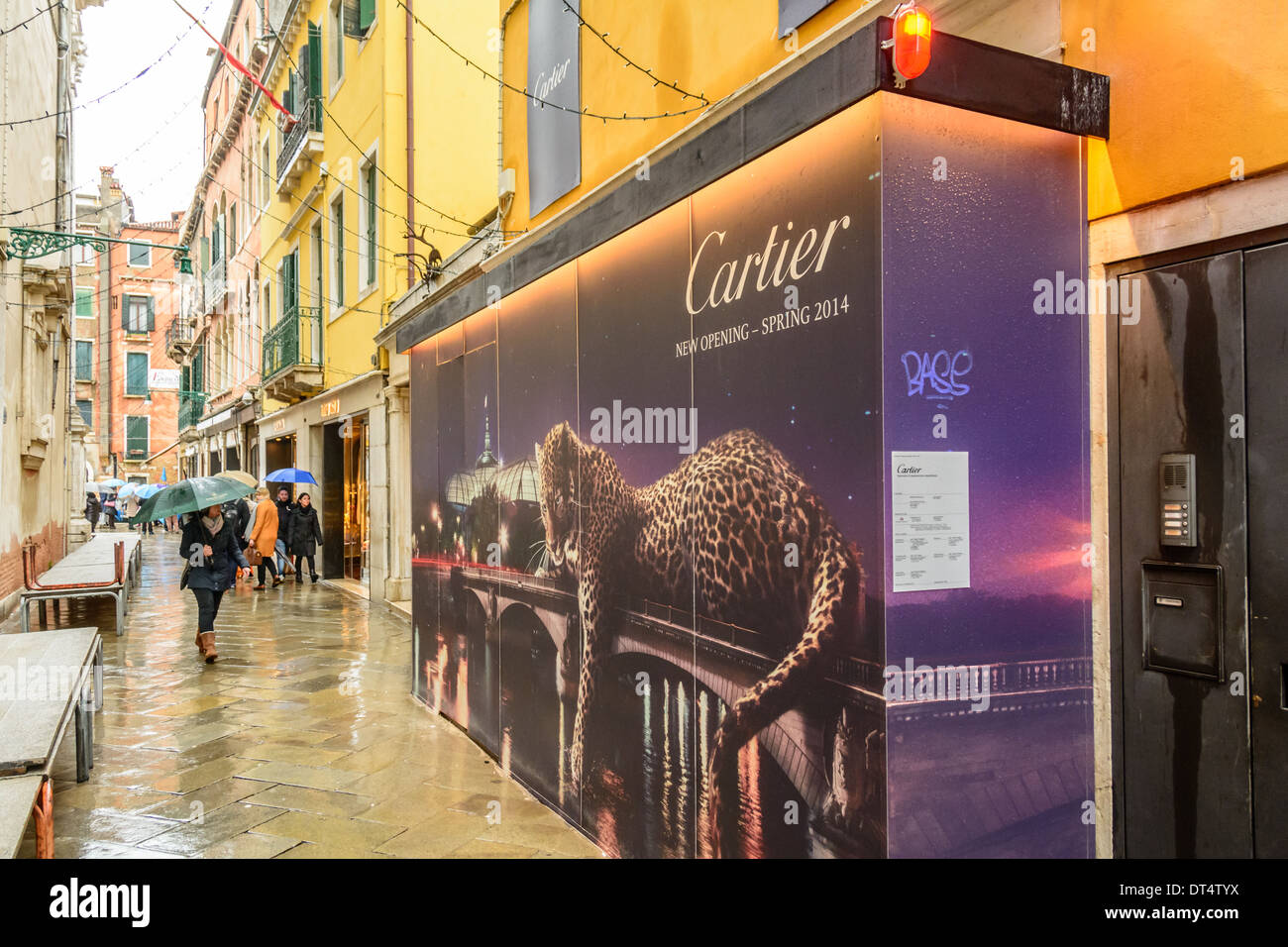 Venice, Italy. Cartier store in a narrow Venetian alley covered for new opening in spring 2014. Stock Photo