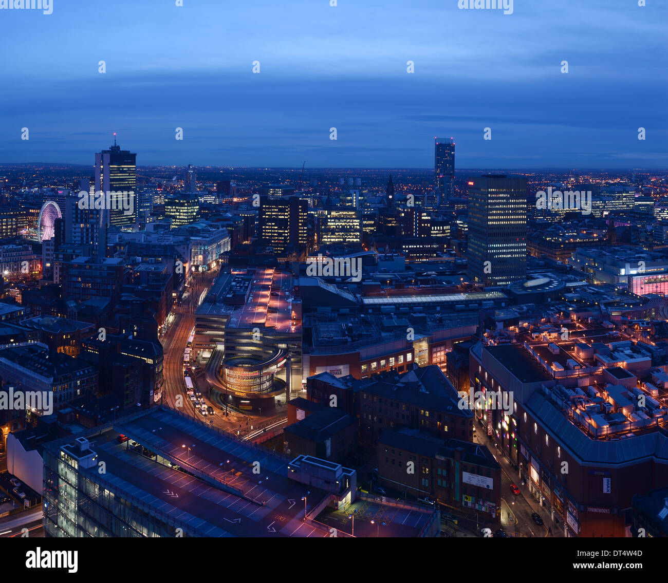 Manchester city centre at night including The Arndale Centre and The Printworks - Stock Image