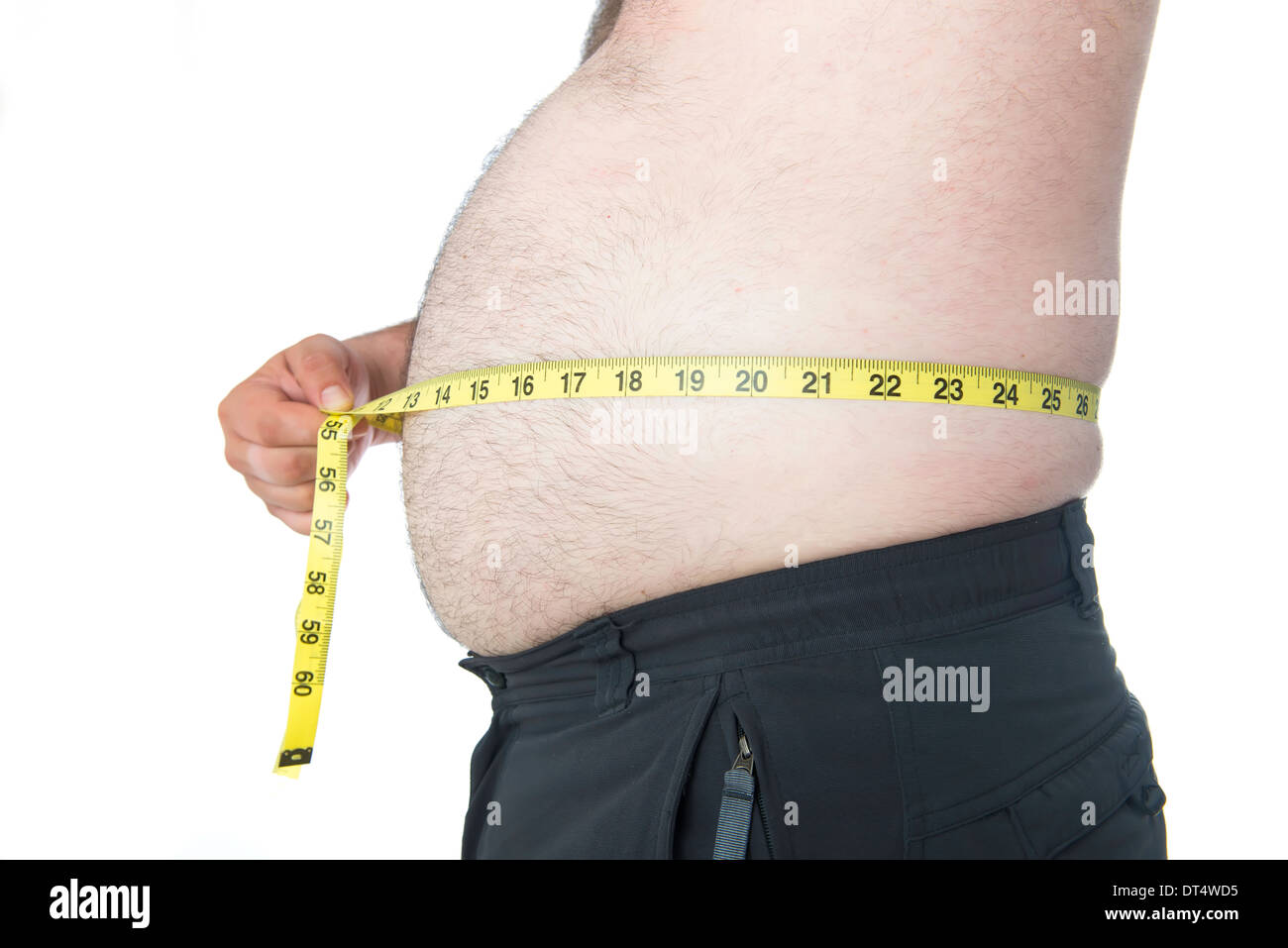 Fat Man With A Big Belly With A Tape Measure Stock Photo