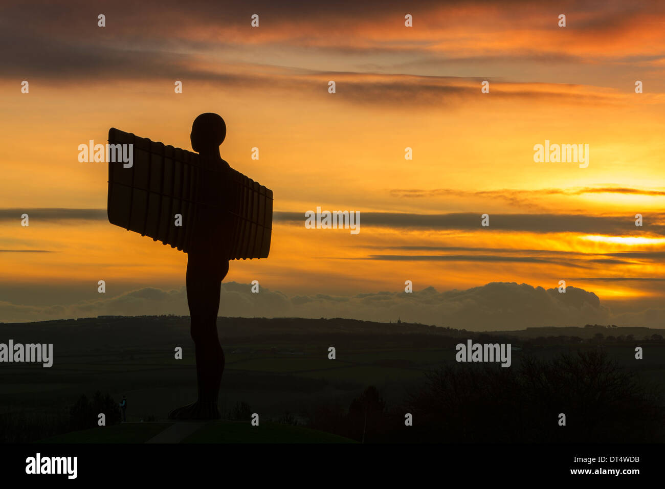 A view of the Gateshead Angel of the North at sunset, Gateshead, Tyne and Wear - Stock Image