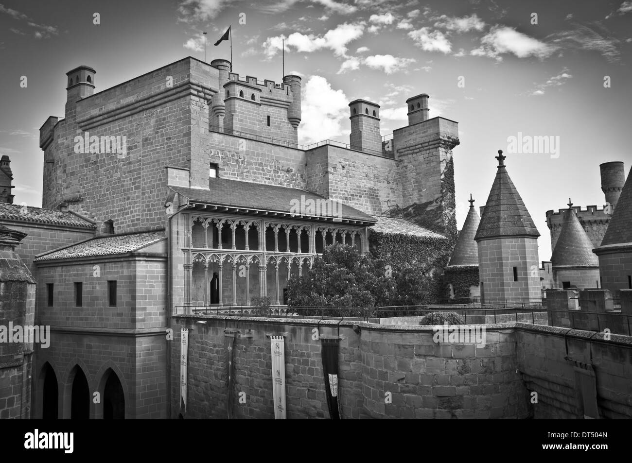 Olite Castle with a sky of clouds in Navarra, SpainOlite - Stock Image