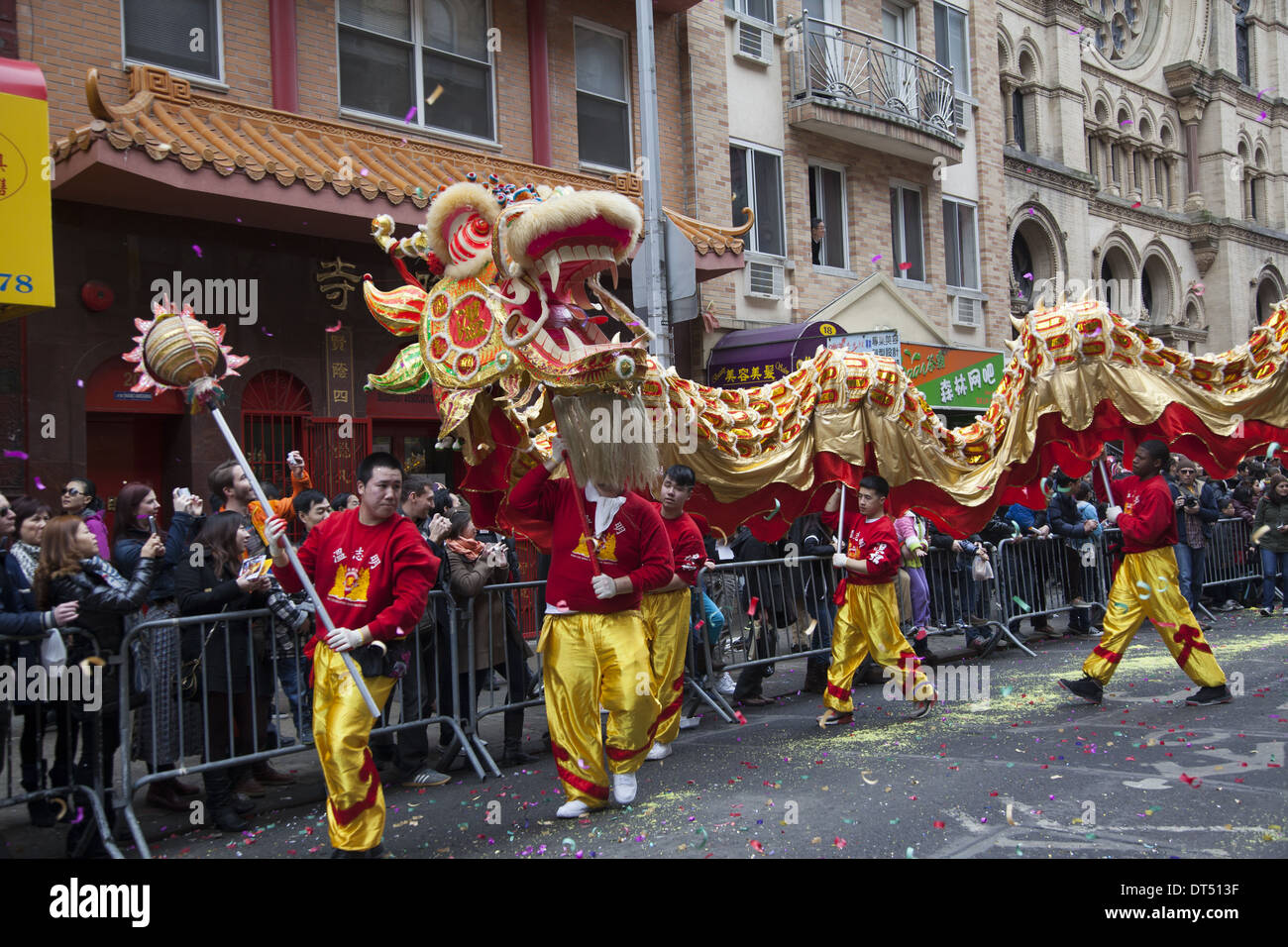 Dragon dancers are a highlight of the Chinese New Year Parade in Chinatown, New York City. - Stock Image
