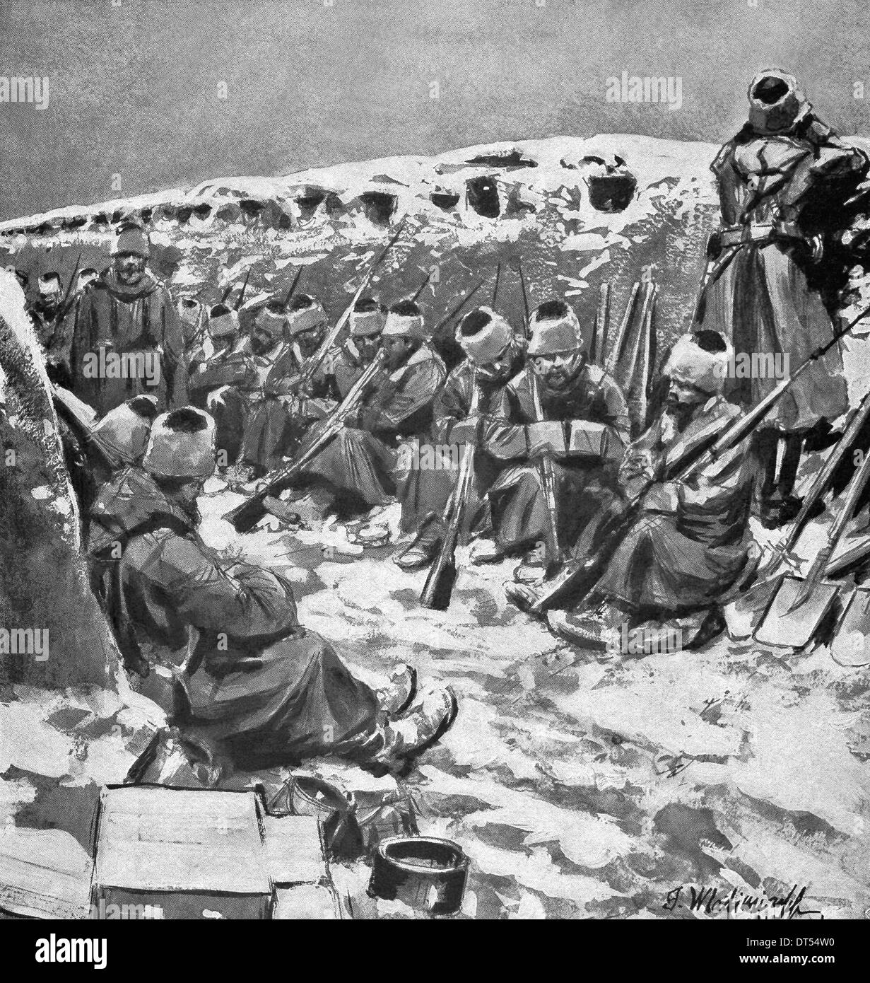 This illustration shows Russian troops in the trenches, waiting for a German attack, during World War I. - Stock Image