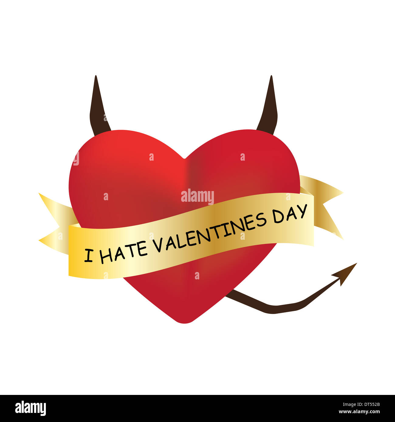I Hate Valentines Day Text On Heart Vector Illustration Stock Photo
