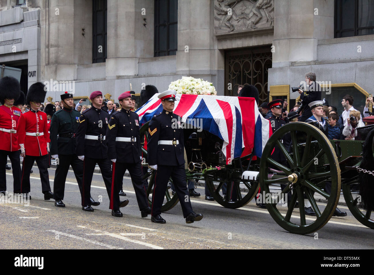Margaret Thatcher's state funeral proceeding along Fleet Street, London, England, UK - Stock Image