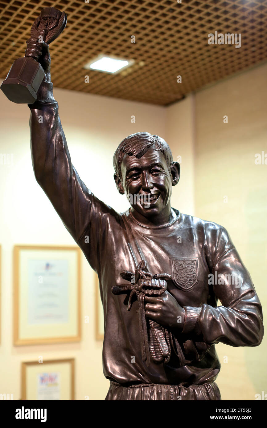 Detail from a statue of former England goalkeeper and World Cup Winner Gordon Banks - Stock Image
