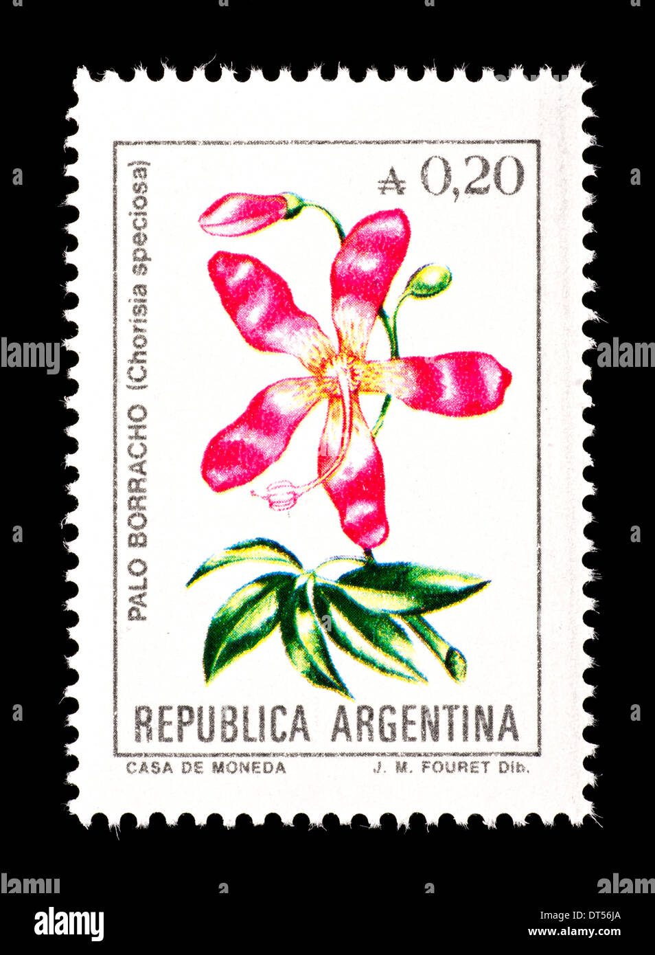 Postage stamp from Argentina depicting the flower of the silk floss tree (Chorisia specious) Stock Photo