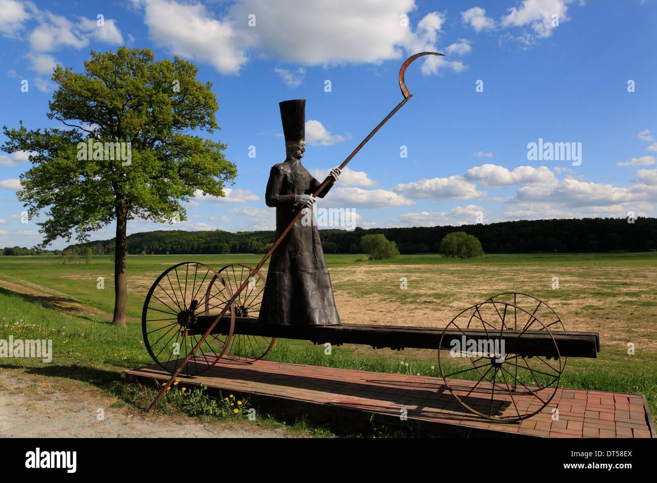 Art objekt CHARON by Bernd Streiter, Moedlich, Elbe cycle route, Brandenburg, Germany, Europe - Stock Image
