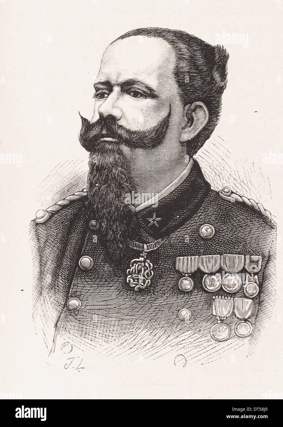 Portrait of Vittorio Emanuele II - French engraving XIX th century - Stock Image