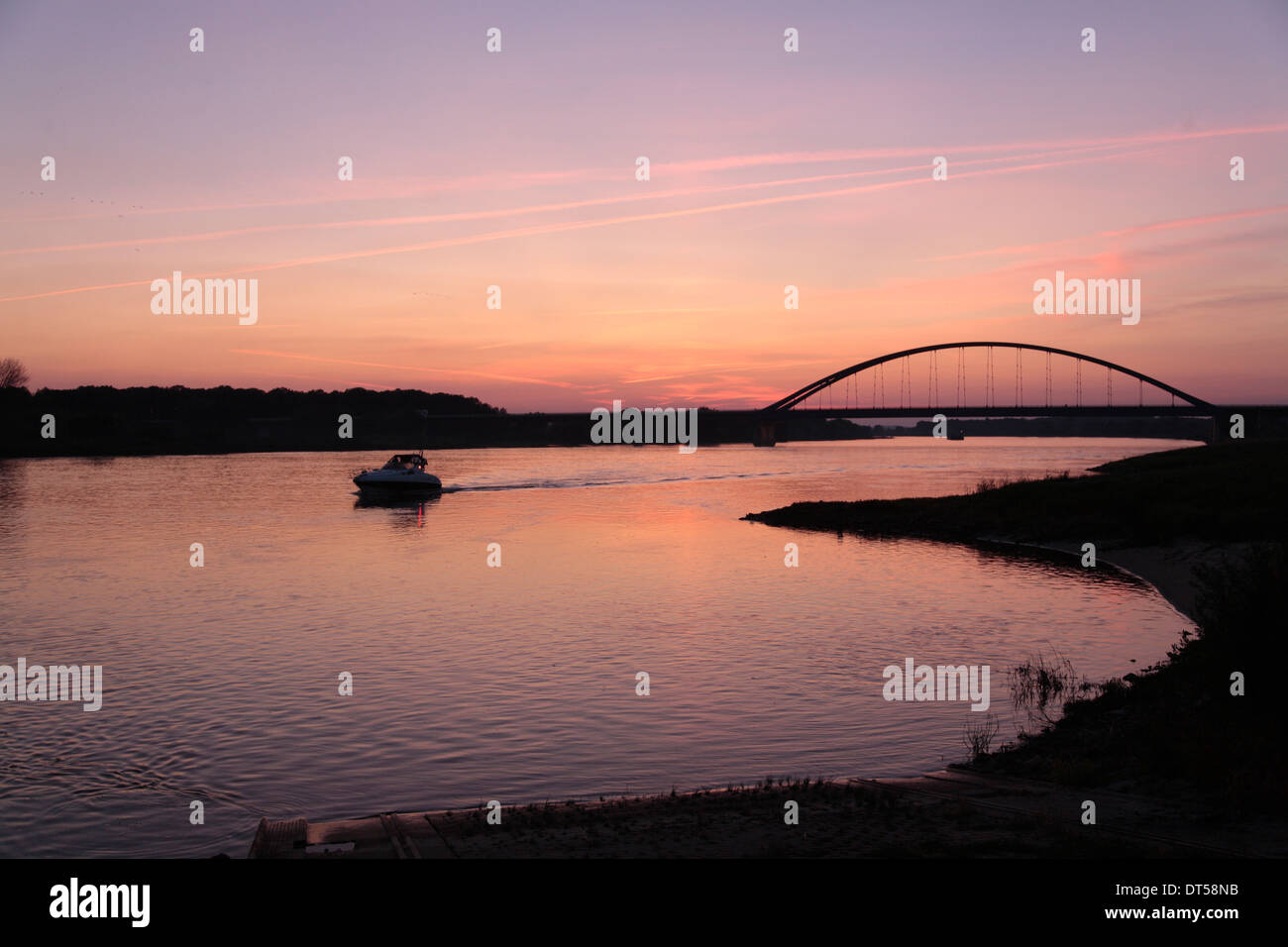 Sunset at Doemitz bridge, river Elbe, Mecklenburg Western Pomerania, Germany, Europe - Stock Image
