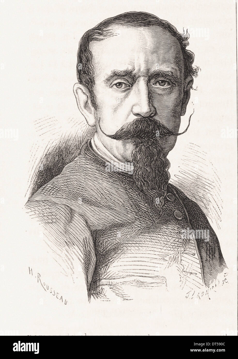 Portrait of Horace Vernet french painter- French engraving XIX th century - Stock Image