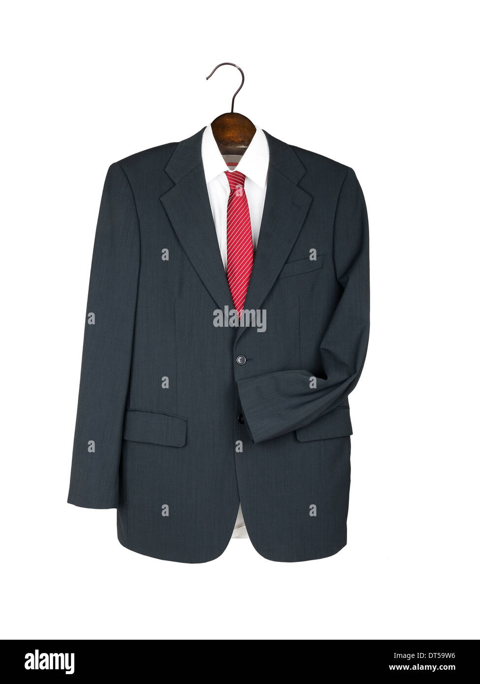 Man's suit on hanger with shirt, tie - isolated - Stock Image