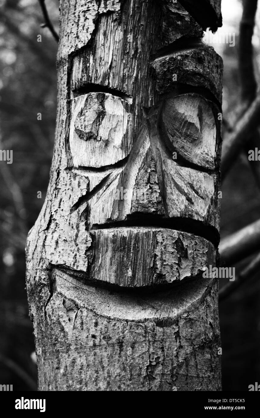 carved wooden face - Stock Image