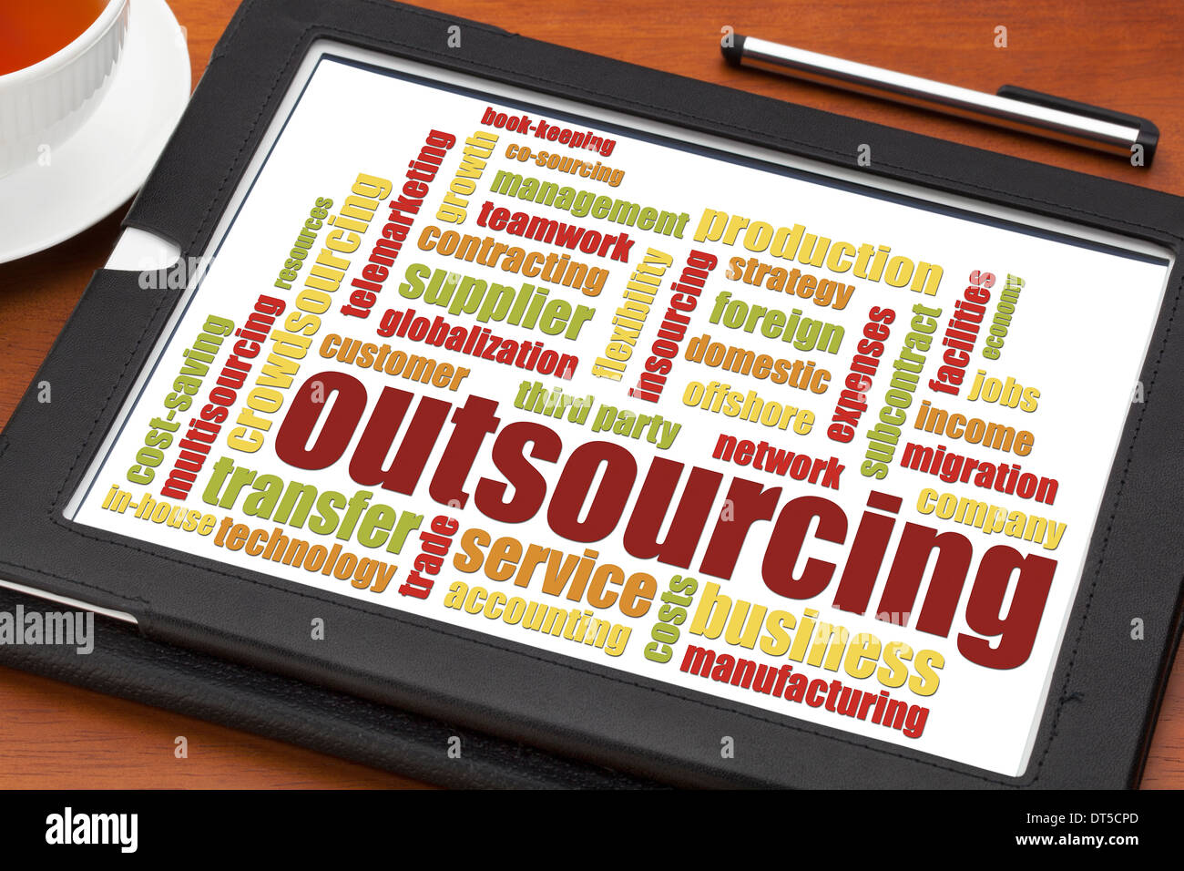 outsourcing word cloud on a digital tablet with a cup of tea - Stock Image