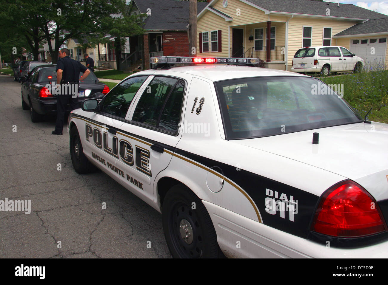 Grosse Pointe Park police department cars in a Detroit street, Michigan, USA. - Stock Image
