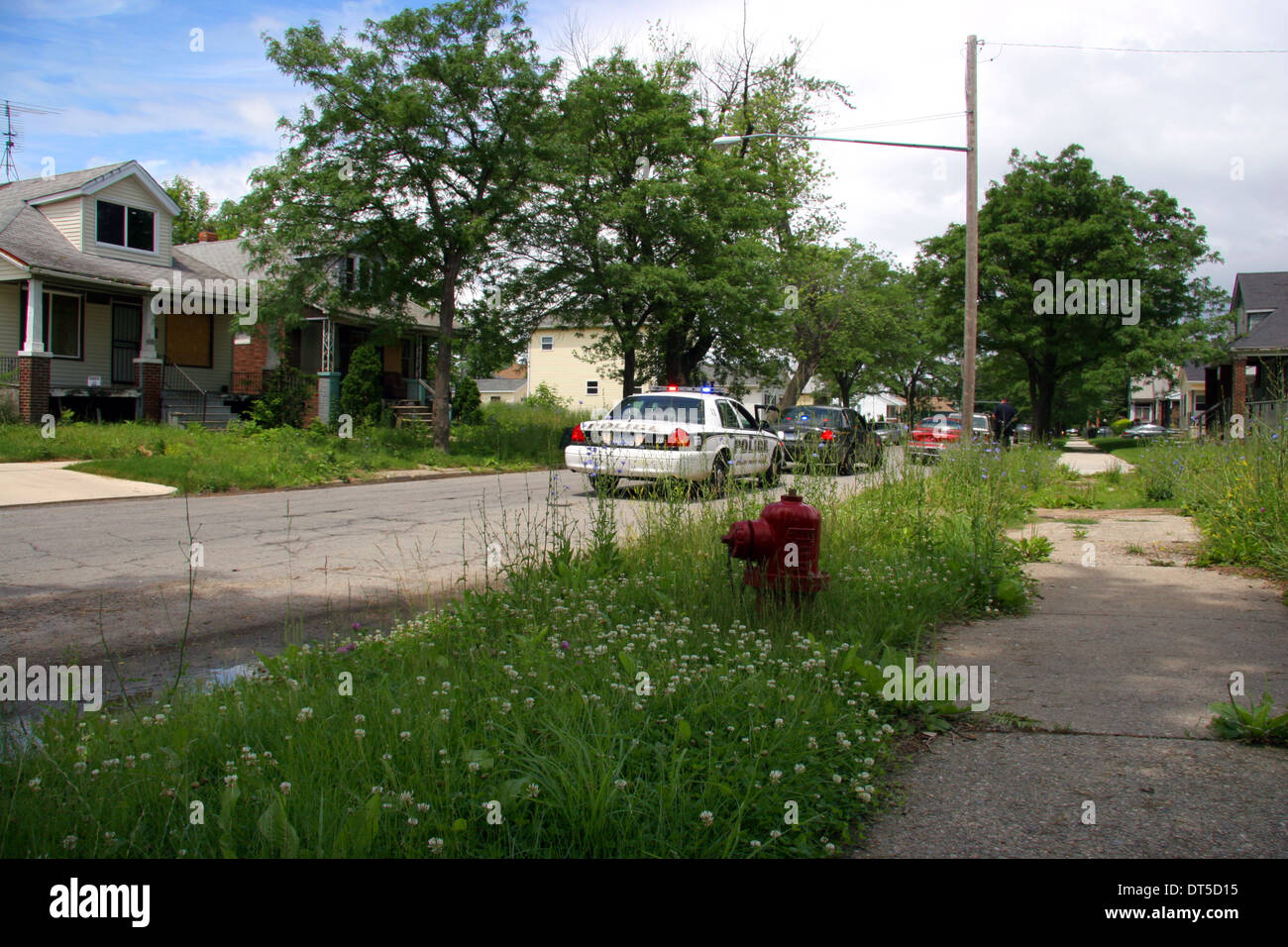 Grosse Pointe Park police department cars in an overgrown Detroit street, Michigan, USA. - Stock Image