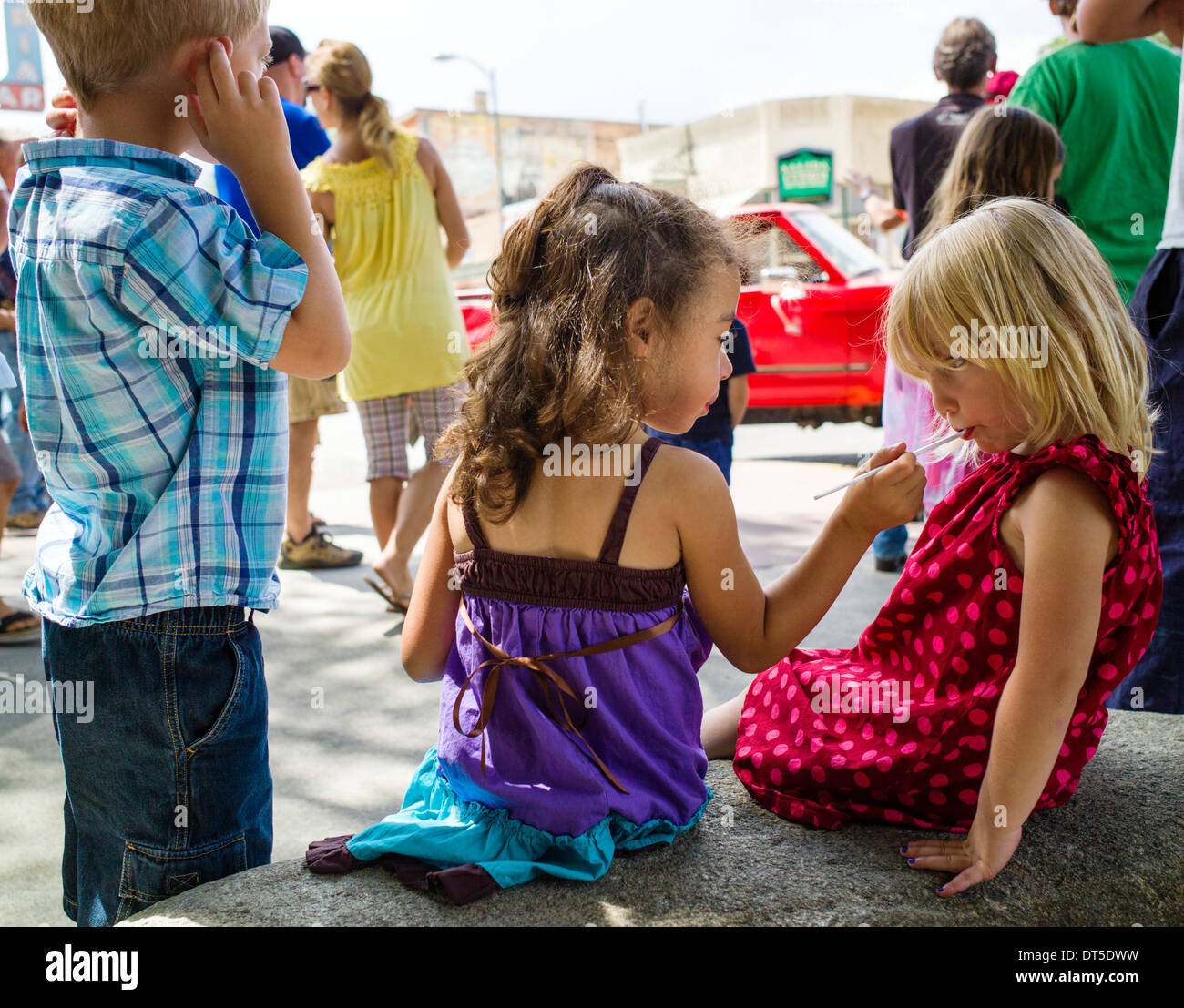 Children at the Angel of Shavano Car Show, fund raiser for Chaffee County Search & Rescue South, Salida, Colorado, USA - Stock Image