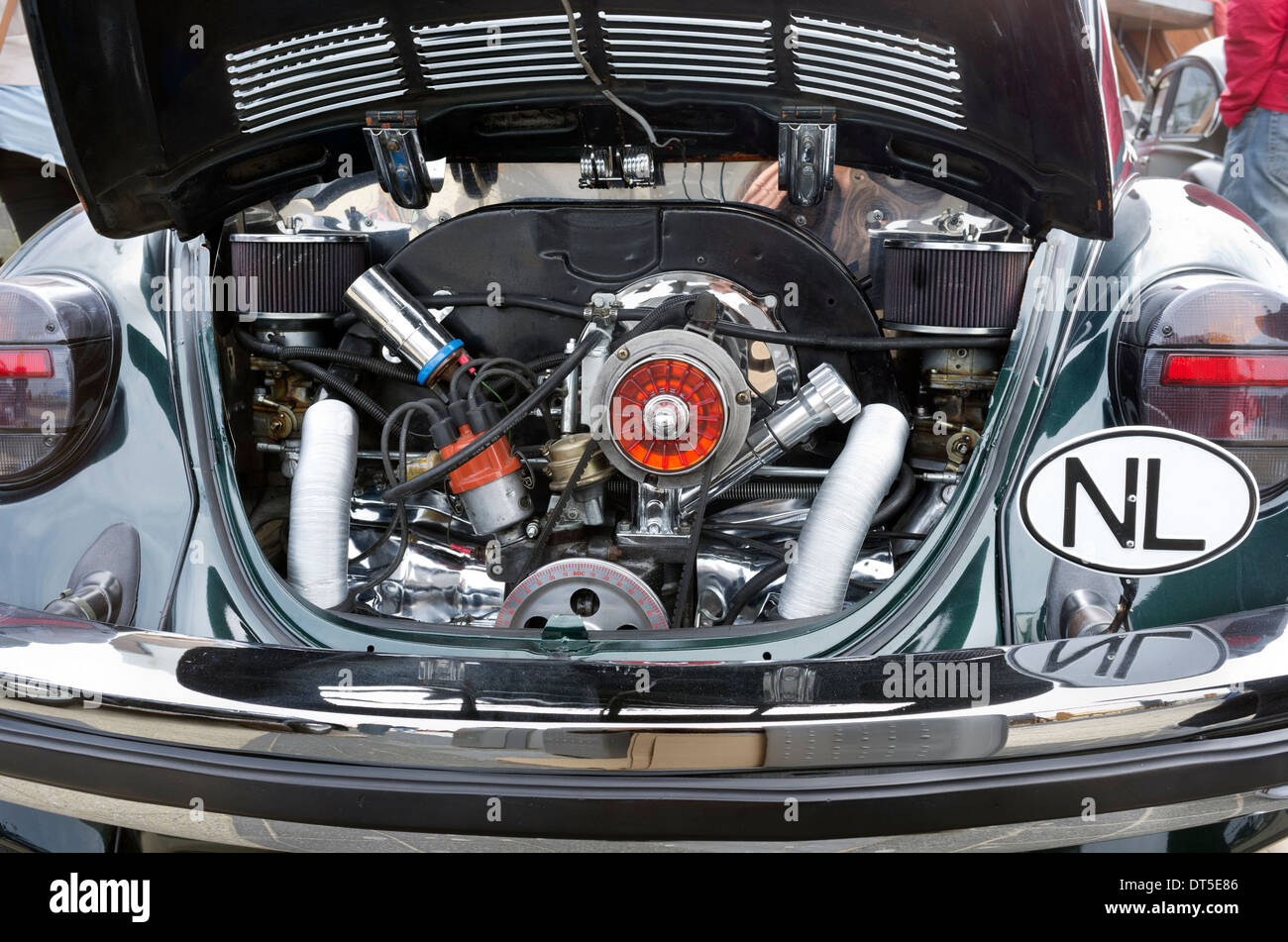 Rear mounted air cooled engine Volkswagen VW Beetle on display at Stock Photo: 66503814 - Alamy