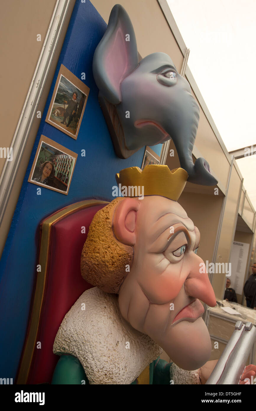 The King of Spain and his elephant in a Ninot de Falla. - Stock Image