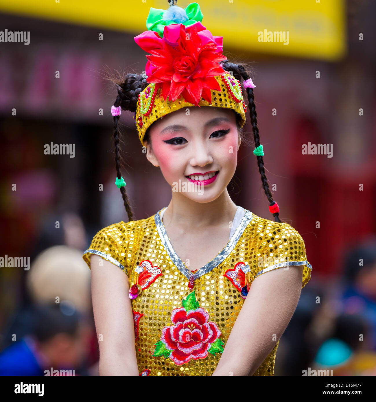 Beautiful Chinese girl parades at the Lunar New Year Festival in Chinato - Stock Image