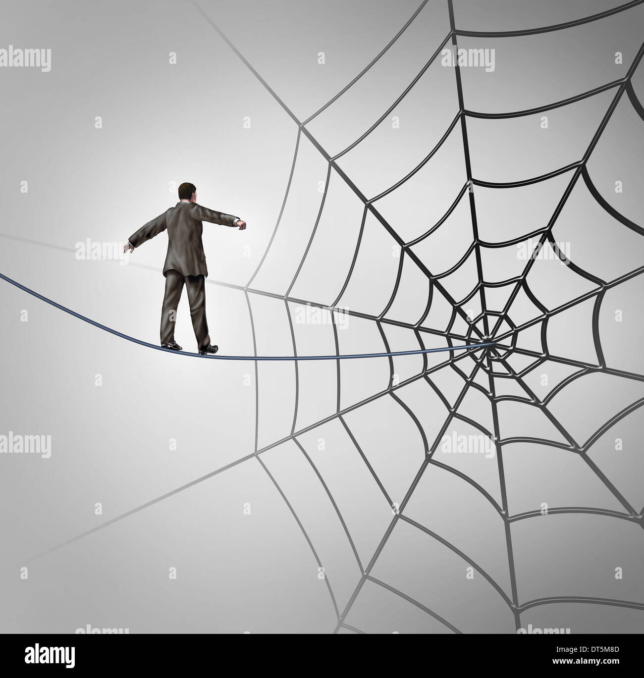 Businessman trap business concept with a tightrope walker walking on ...
