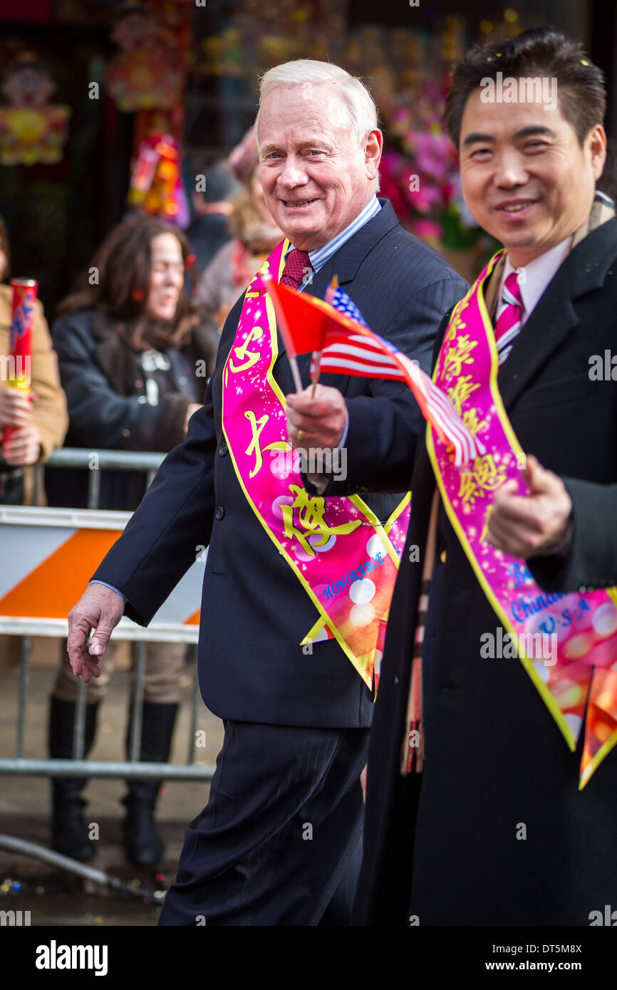 New York senator Martin J. Golden parades at the Lunar New Year Festival in Chinatown next to a community representative. - Stock Image