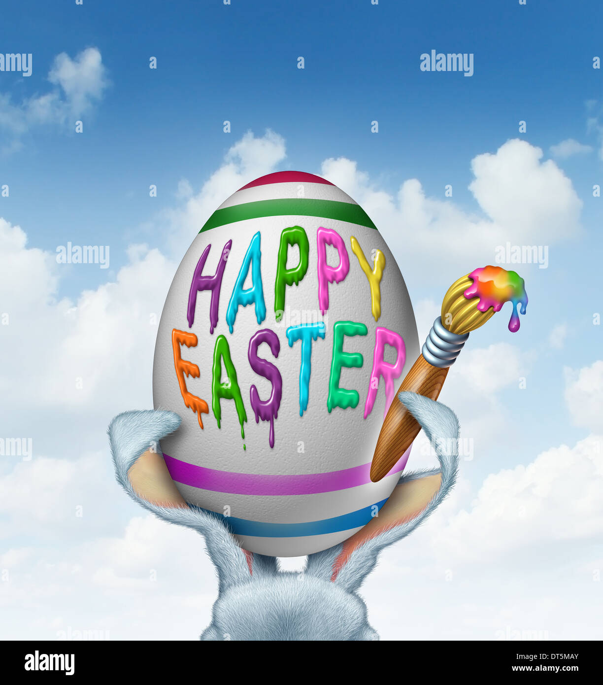 Happy easter greeting painted on a giant white egg with a paint happy easter greeting painted on a giant white egg with a paint brush being held by rabbit ears with detailed textured realistic fur as a fun spring symbol m4hsunfo