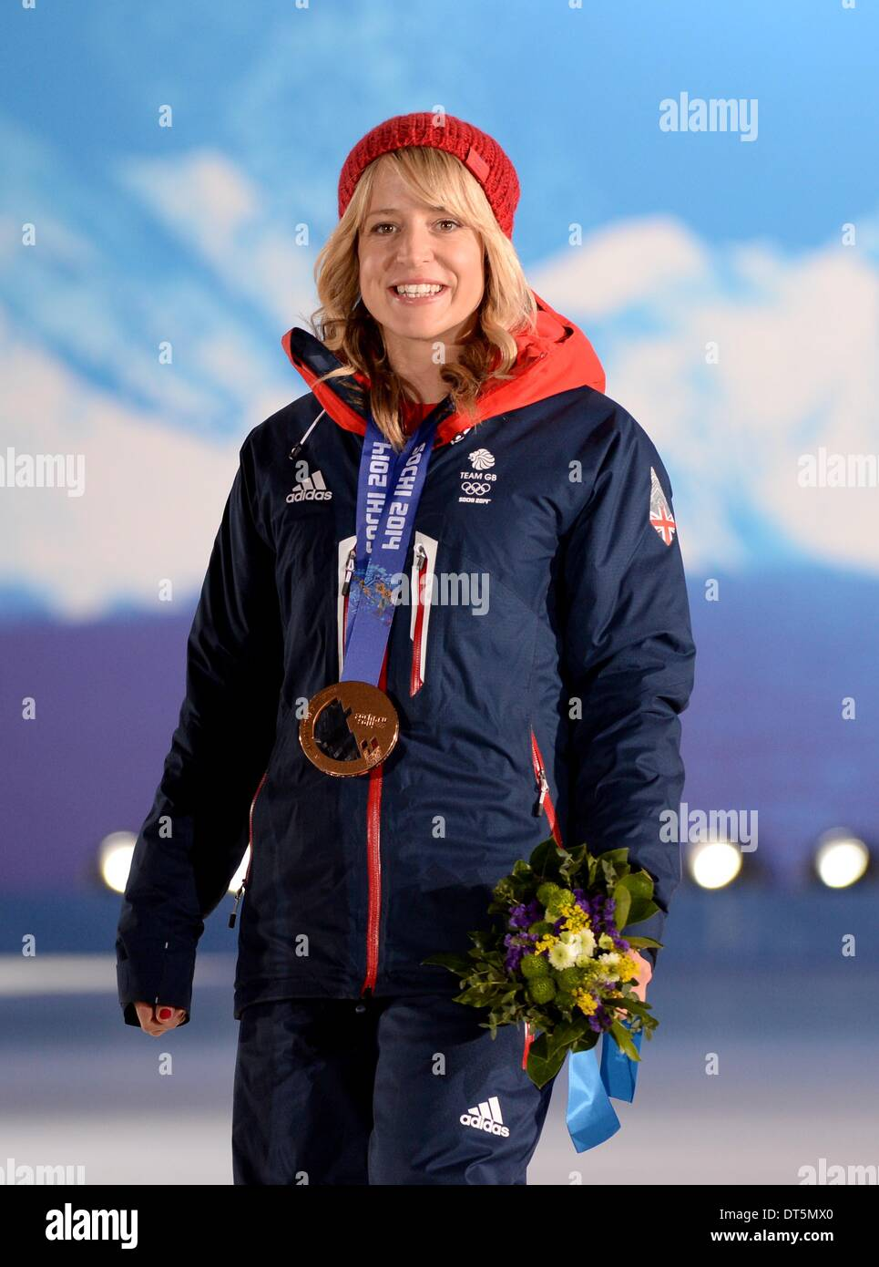 Sochi, Russia. 9th February 2014. Jenny Jones (GBR) with her bronze medal for the Snowboard slopestyle. Medal Ceremonies - Olympic Plaza - Sochi - Russia - 09/02/2014 Credit:  Sport In Pictures/Alamy Live News - Stock Image
