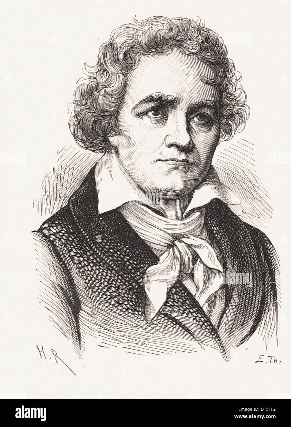 Portrait of Ludwig van Beethoven - French engraving XIX th century - Stock Image