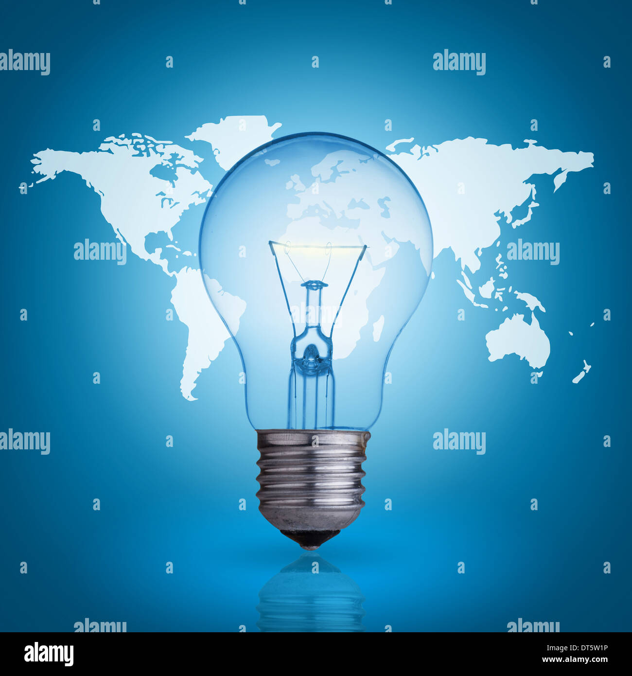 Light bulb on blue background world map stock photo 66512258 alamy light bulb on blue background world map gumiabroncs Image collections