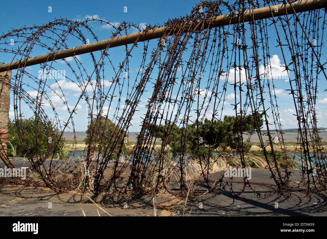 Barbed wire barricade on a rooftop with river view - Stock Image