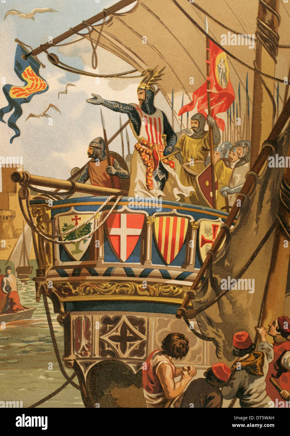 James I The Conqueror (1208-1276). Expedition to Majorca. Colored engraving. - Stock Image