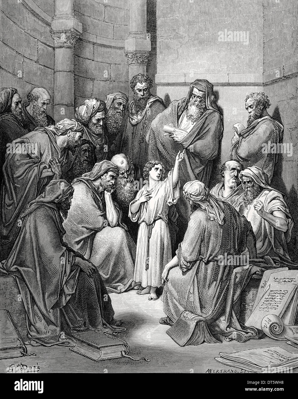 New Testament. Jesus in his childhood among the Doctors. Gospel of Luke, Chapter II, Verses 43-50. Gustave Dore drawing. - Stock Image