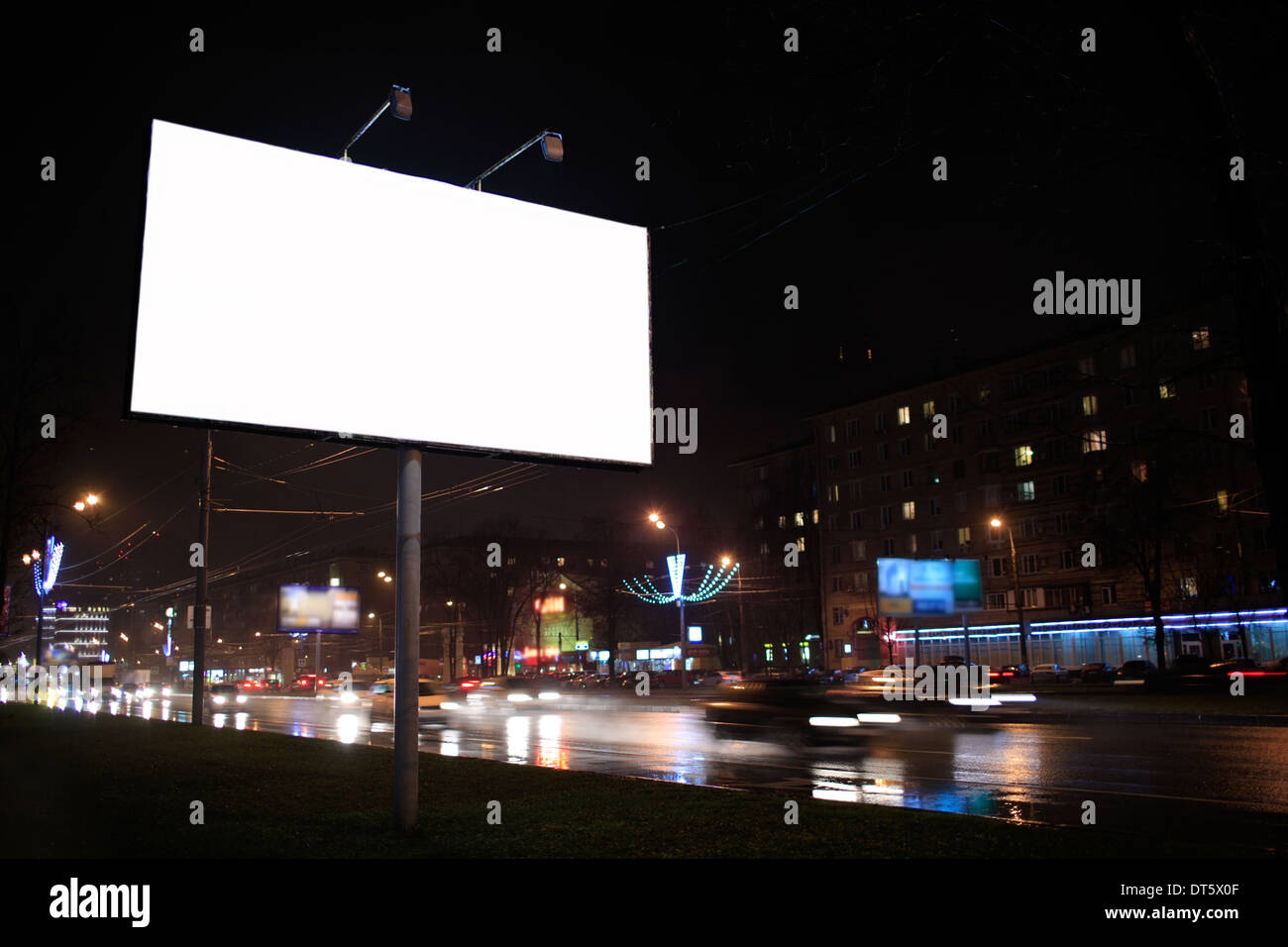 Empty billboard, by night - Stock Image