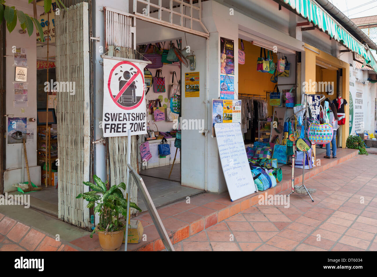 Sweatshop free zone shop, Cambodia - Stock Image