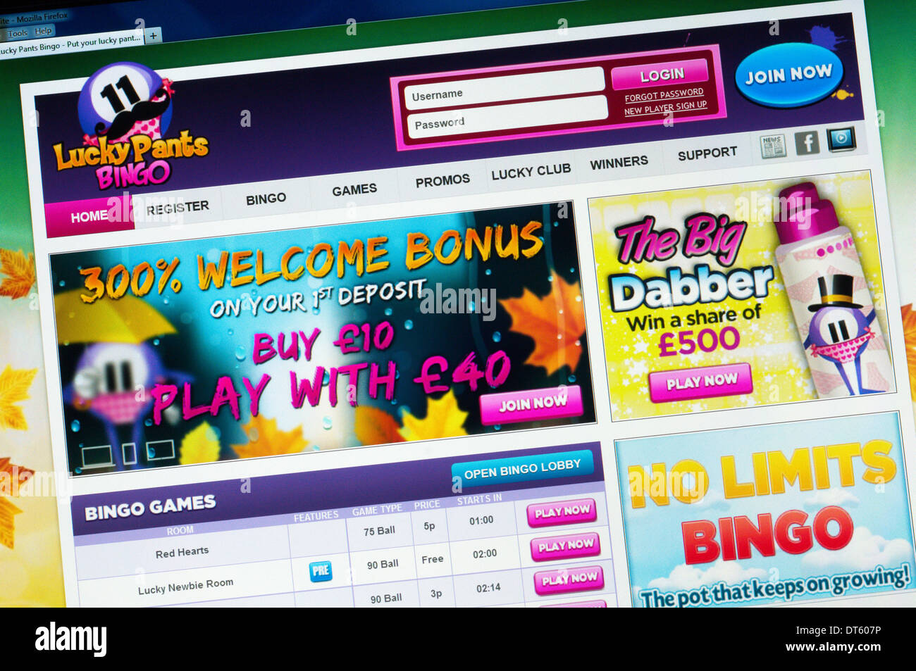 The home page of the Lucky Pants Bingo website. - Stock Image